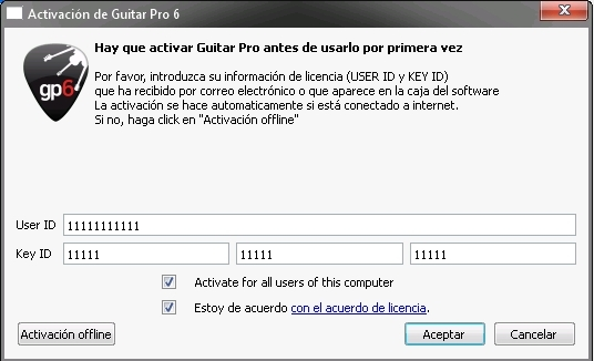 download user id e key id guitar pro 6